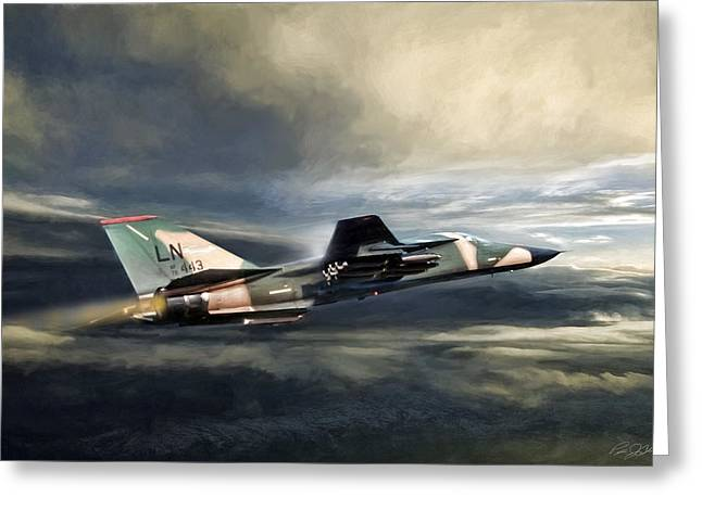 Whispering Death F-111 Greeting Card by Peter Chilelli
