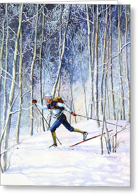 Skiing Christmas Cards Greeting Cards - Whispering Tracks Greeting Card by Hanne Lore Koehler