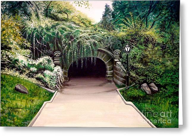 Greeting Card featuring the painting Whispering Tunnel by Elizabeth Robinette Tyndall