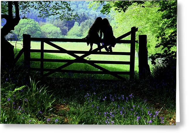 Best Friends On A Farm Gate In Devon Greeting Card