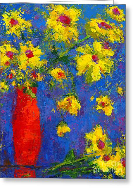 Abstract Floral Art, Modern Impressionist Painting - Palette Knife Work Greeting Card by Patricia Awapara