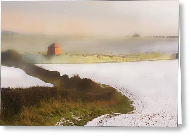 Whispy Winter Landscape Greeting Card by Aleck Rich Seddon