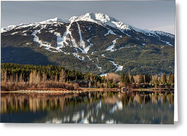 Greeting Card featuring the photograph Whistler Mountain Reflection Panorama by Pierre Leclerc Photography