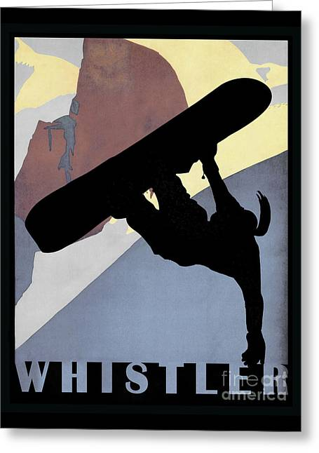 Whistler Mountain Snowboarding Betty, Winter Sport Greeting Card by Tina Lavoie