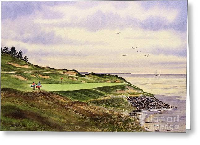 Whistling Straits Golf Course Hole 7 Greeting Card by Bill Holkham