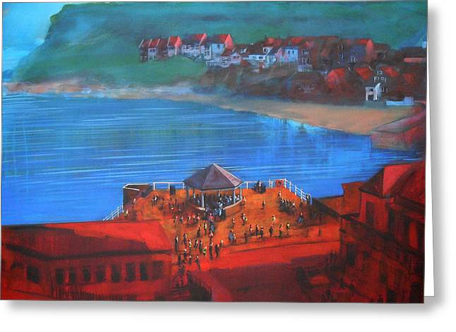 Whitby Bandstand And Smokehouses Greeting Card by Neil McBride