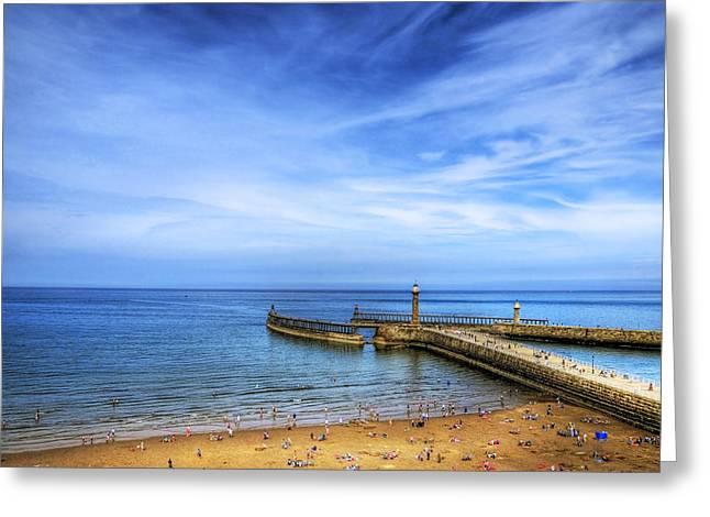 Whitby Beach Greeting Card by Svetlana Sewell
