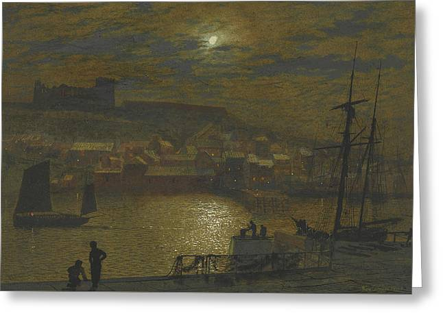 Whitby From Scotch Head Moonlight On The Esk Greeting Card