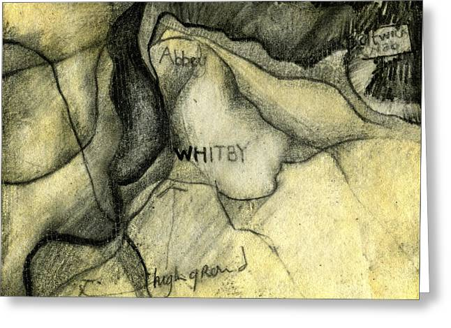 Whitby Geology Map  Greeting Card by Elizabetha Fox