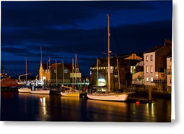 Whitby Harbour Greeting Card by Svetlana Sewell