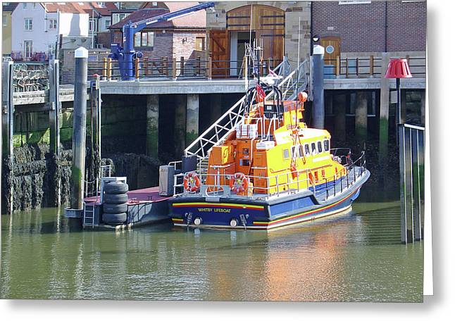 Whitby Lifeboat Greeting Card by Rod Johnson