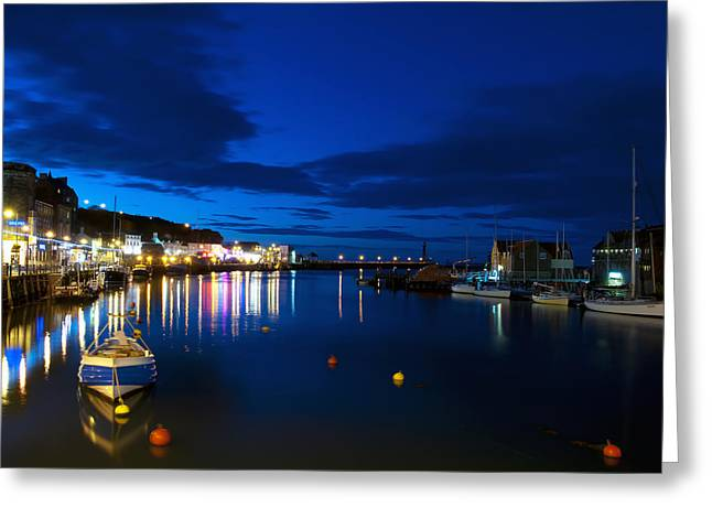 Whitby Lights Greeting Card by Svetlana Sewell