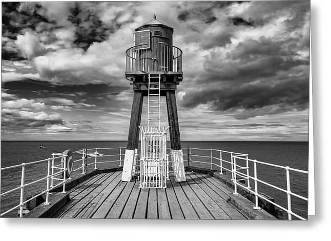 Whitby Pier Greeting Card by Gillian Dernie