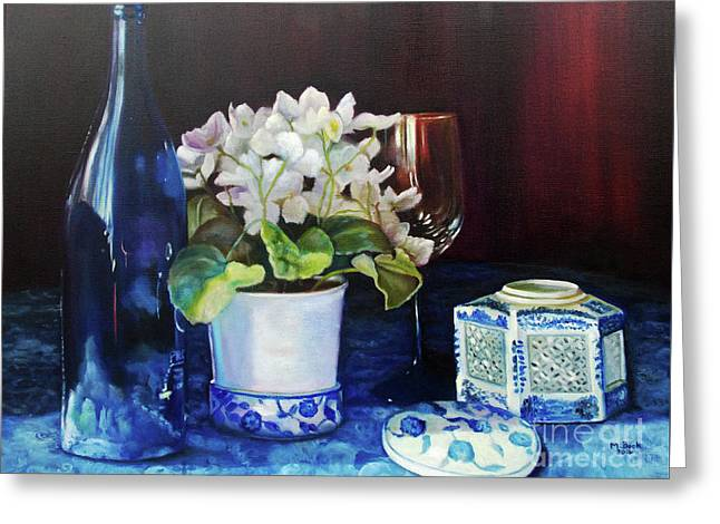 White African Violets Greeting Card by Marlene Book
