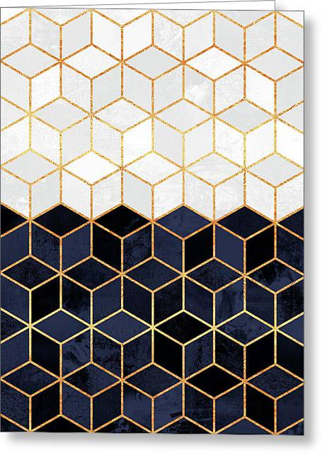 White And Navy Cubes Greeting Card by Elisabeth Fredriksson
