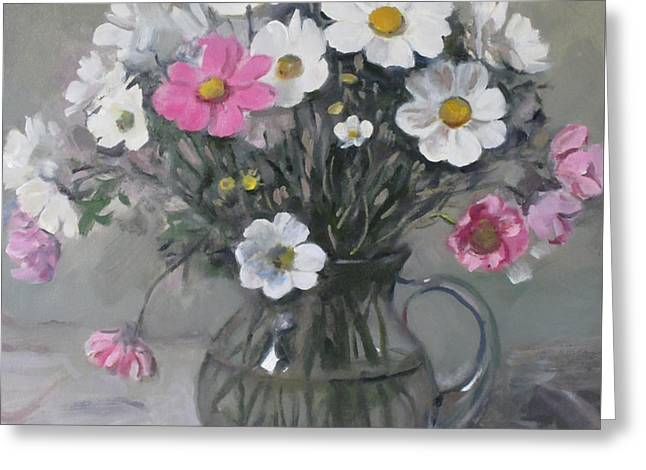 White And Pink Cosmos Bouquet In Water Pitcher No. 2 Greeting Card