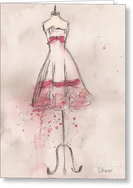 White And Pink Party Dress Greeting Card by Lauren Maurer