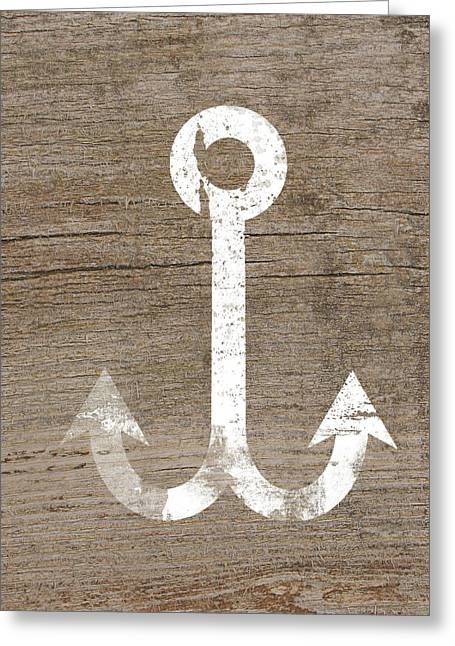 White And Wood Anchor- Art By Linda Woods Greeting Card