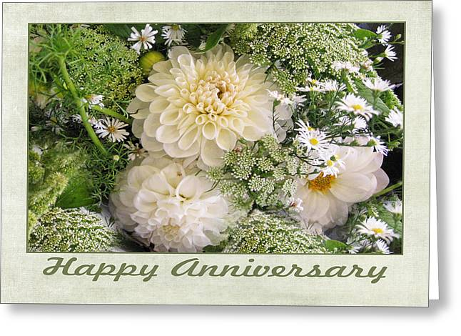 White Anniversary Bouquet Greeting Card by Geraldine Alexander