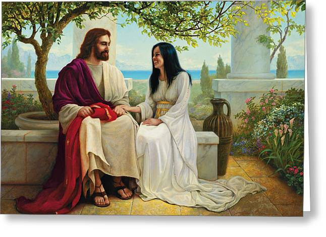 Sins Be As Scarlet Paintings Greeting Cards - White as Snow Greeting Card by Greg Olsen