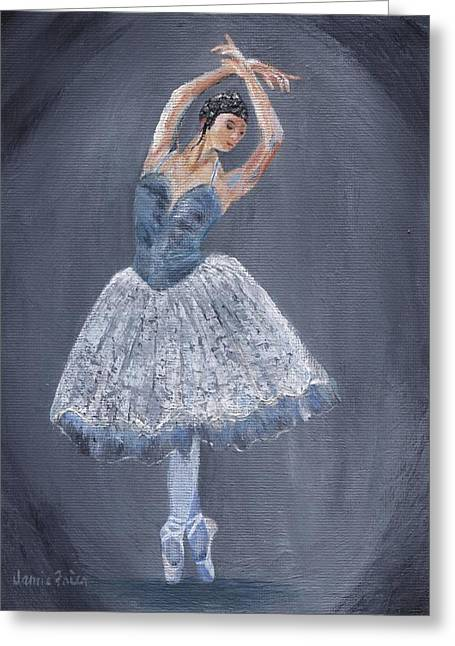 Greeting Card featuring the painting White Ballerina by Jamie Frier