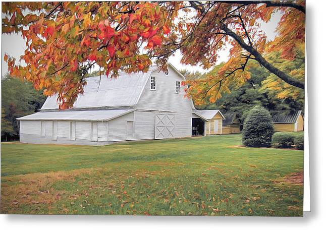 White Barn In Autumn Greeting Card