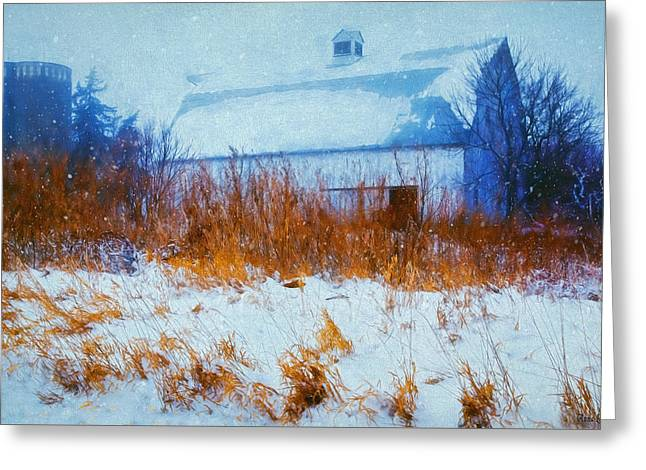 White Barn In Snowstorm Greeting Card