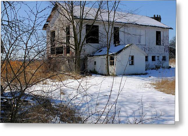 White Barn Greeting Card by Scott Kingery