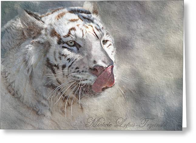 White Bengal Tiger Greeting Card