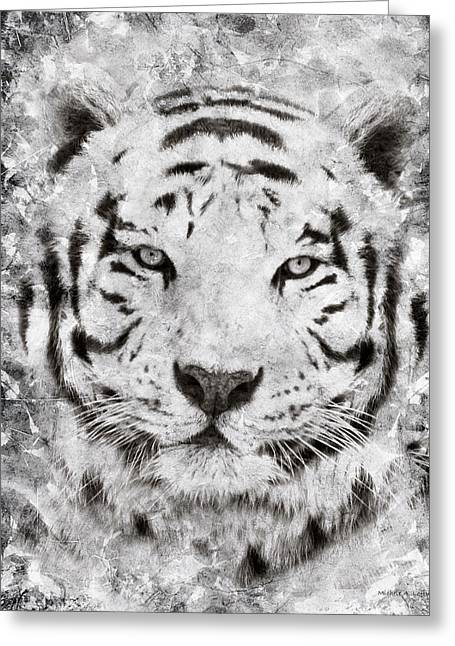 White Bengal Tiger Portrait Greeting Card