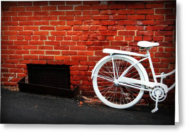 Grate Greeting Cards - White Bike on Red Brick Greeting Card by Susie Weaver
