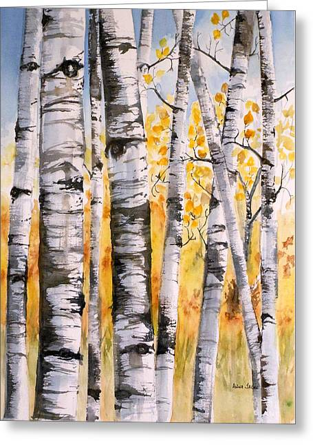 White Birch Meadow Greeting Card
