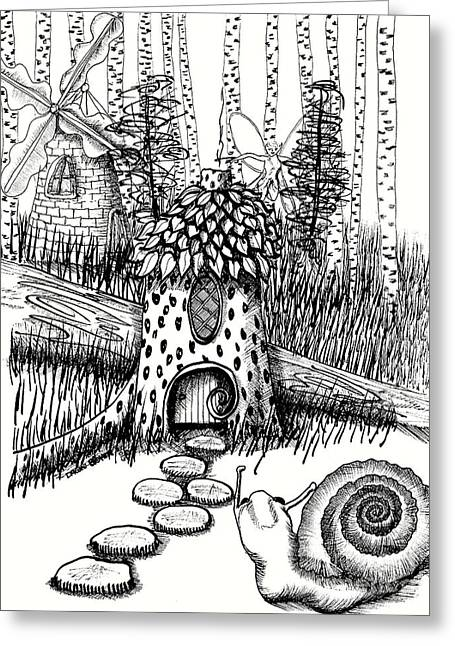 White Birch Stump And Windmill And Snail Greeting Card by Dawn Boyer