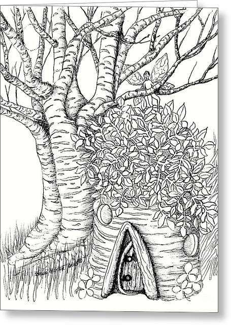 White Birch Stump Fairy House Greeting Card by Dawn Boyer