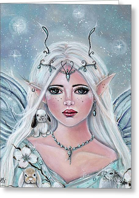 White Blossom Elf Greeting Card by Renee Lavoie