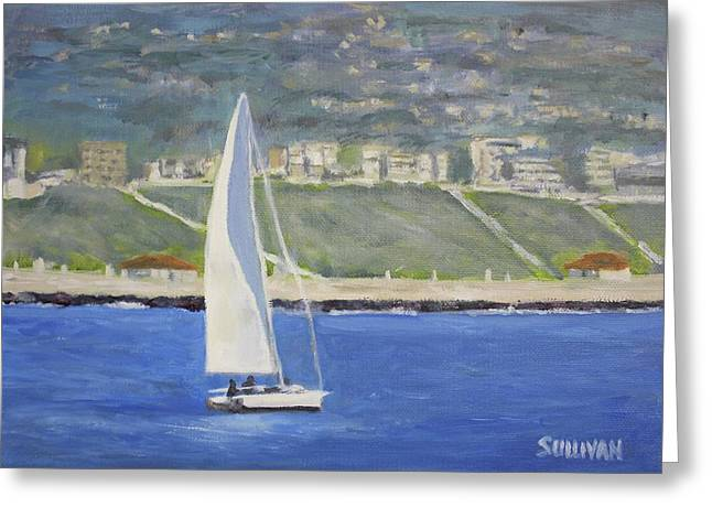 White Boat, Blue Sea Greeting Card
