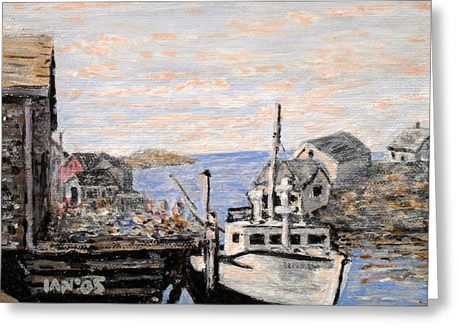 Greeting Card featuring the painting White Boat In Peggys Cove Nova Scotia by Ian  MacDonald