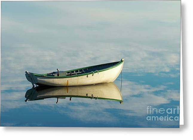 White Boat Reflected Greeting Card