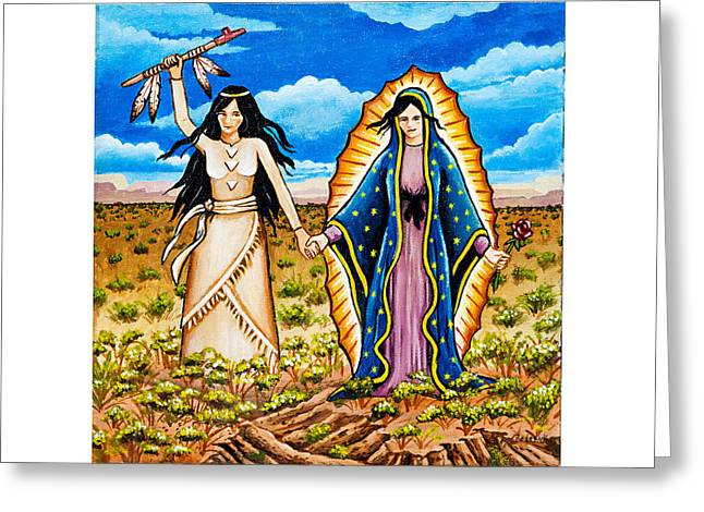 White Buffalo Woman And Guadalupe Greeting Card
