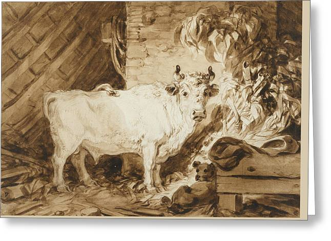 White Bull And A Dog In A Stable Greeting Card
