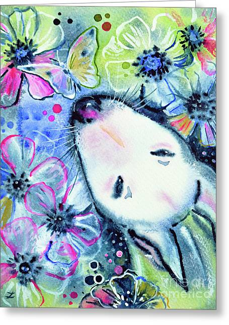 Greeting Card featuring the painting White Bull Terrier And Butterfly by Zaira Dzhaubaeva