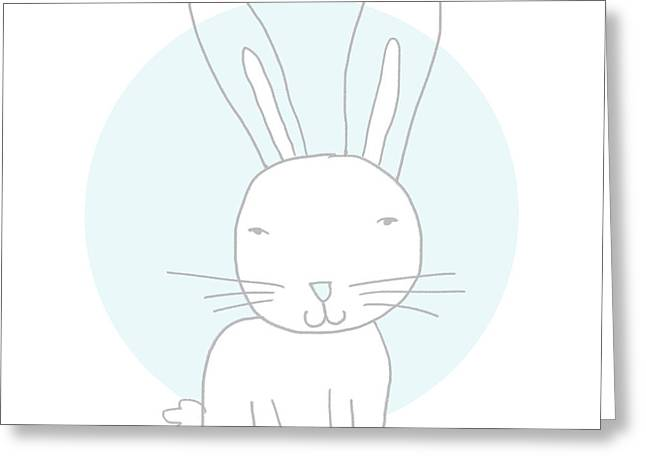 White Bunny On Blue- Art By Linda Woods Greeting Card by Linda Woods