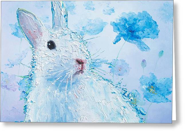 White Bunny On Blue Floral Background Greeting Card by Jan Matson