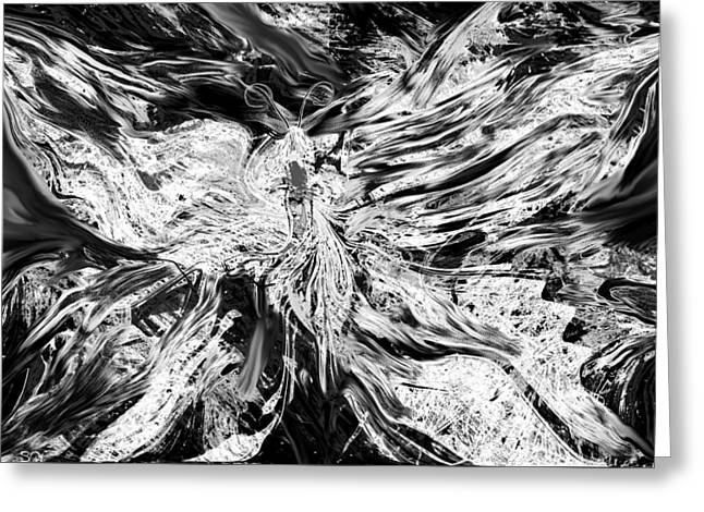 White Butterfly Greeting Card by Abstract Angel Artist Stephen K