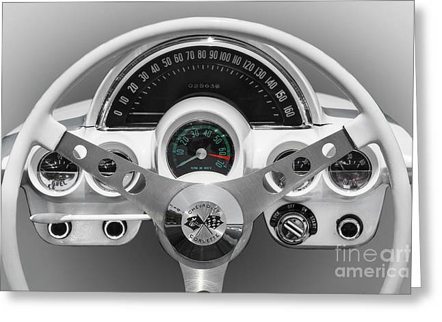 Greeting Card featuring the photograph White C1 Dash by Dennis Hedberg