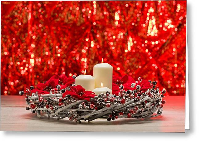 White Candles In Autumn Winter Decoration Greeting Card by Ulrich Schade