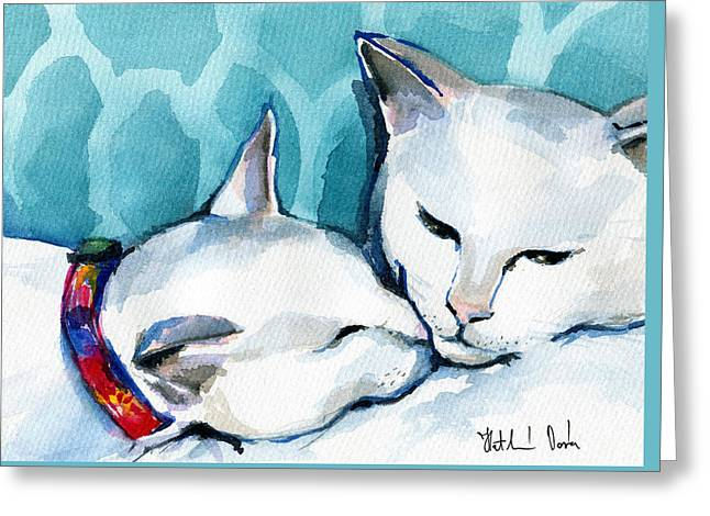 White Cat Affection Greeting Card