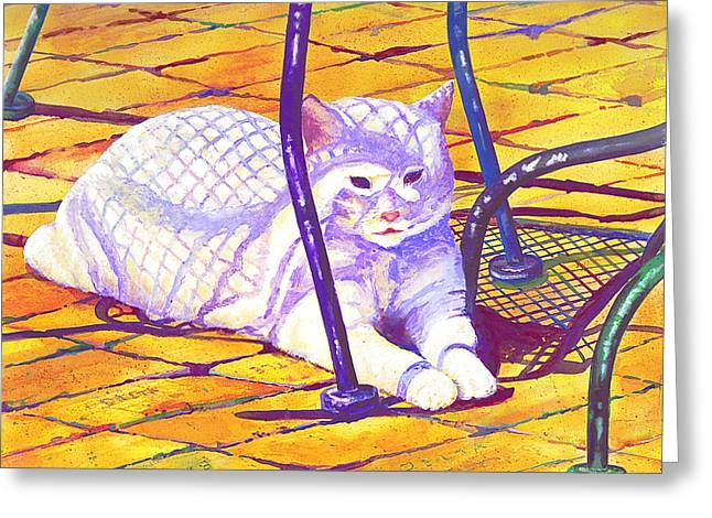 White Cat On Patio Greeting Card