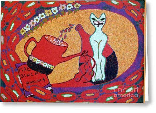 White Cat With Watering Can Greeting Card by Heather McFarlane-Watson