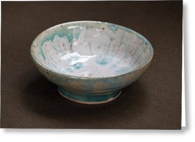 White Ceramic Bowl With Turquoise Blue Glaze Drips Greeting Card by Suzanne Gaff